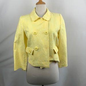 Un Deux Trois Yellow Brocade Cropped Jacket